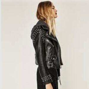 Zara Black New Blk Stud Detachable Hood Xl Jacket